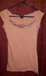 Eye Shadow Peach Tee, w/beaded & sequine neck line, small, NEW!