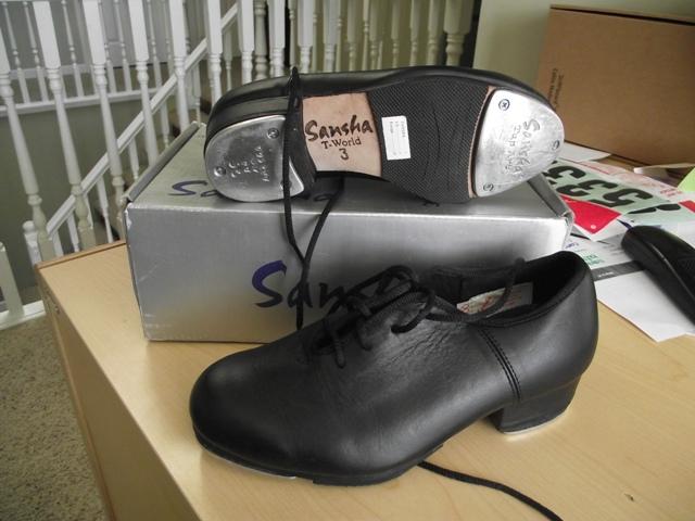 Sansha Unisex Black Leather Tap Shoes - Size 3