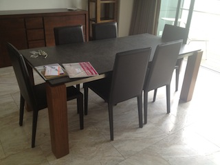 Dining Table  Walnut/Stone top Chairs x6
