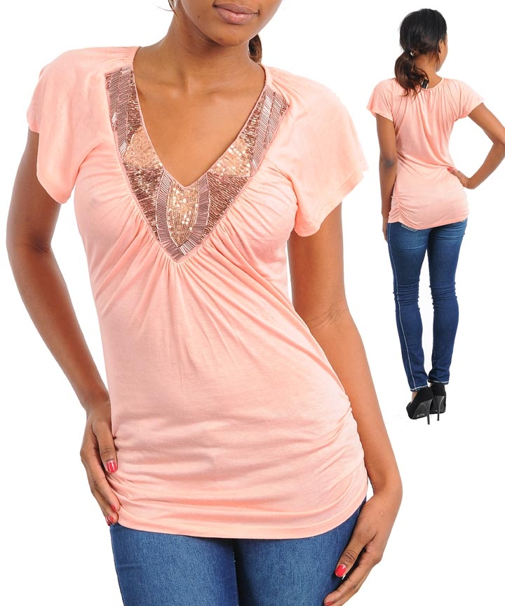 Apricot Blush Top - Beautiful and Unique! Size L / XL Only