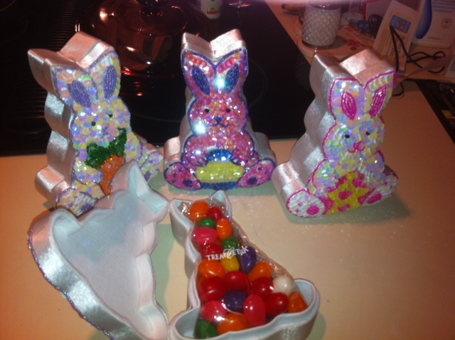 Easter Bunny Sequined Candy Box