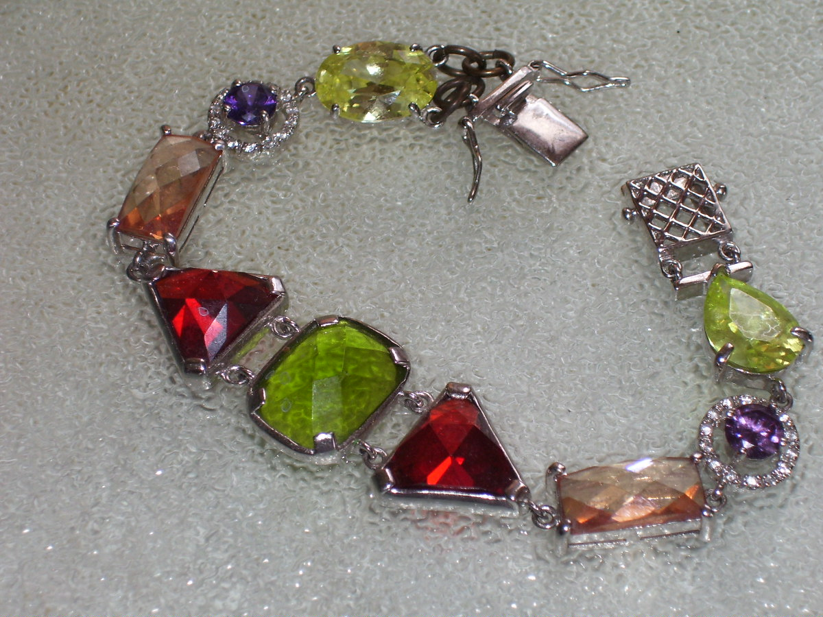 "HEAVY .925 STERLING SILVER GEM BRACELET 7"" PRONG SET"