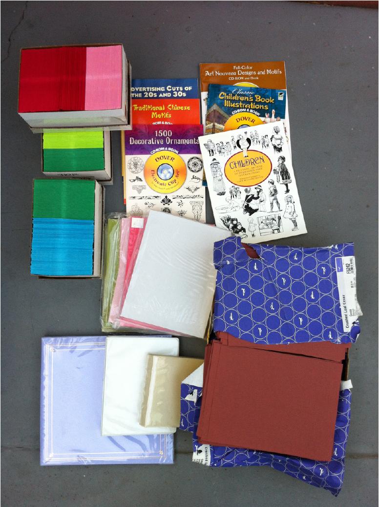 Craft Lot - Envelopes, Dover Books CDs, scrapbook, Cover Paper