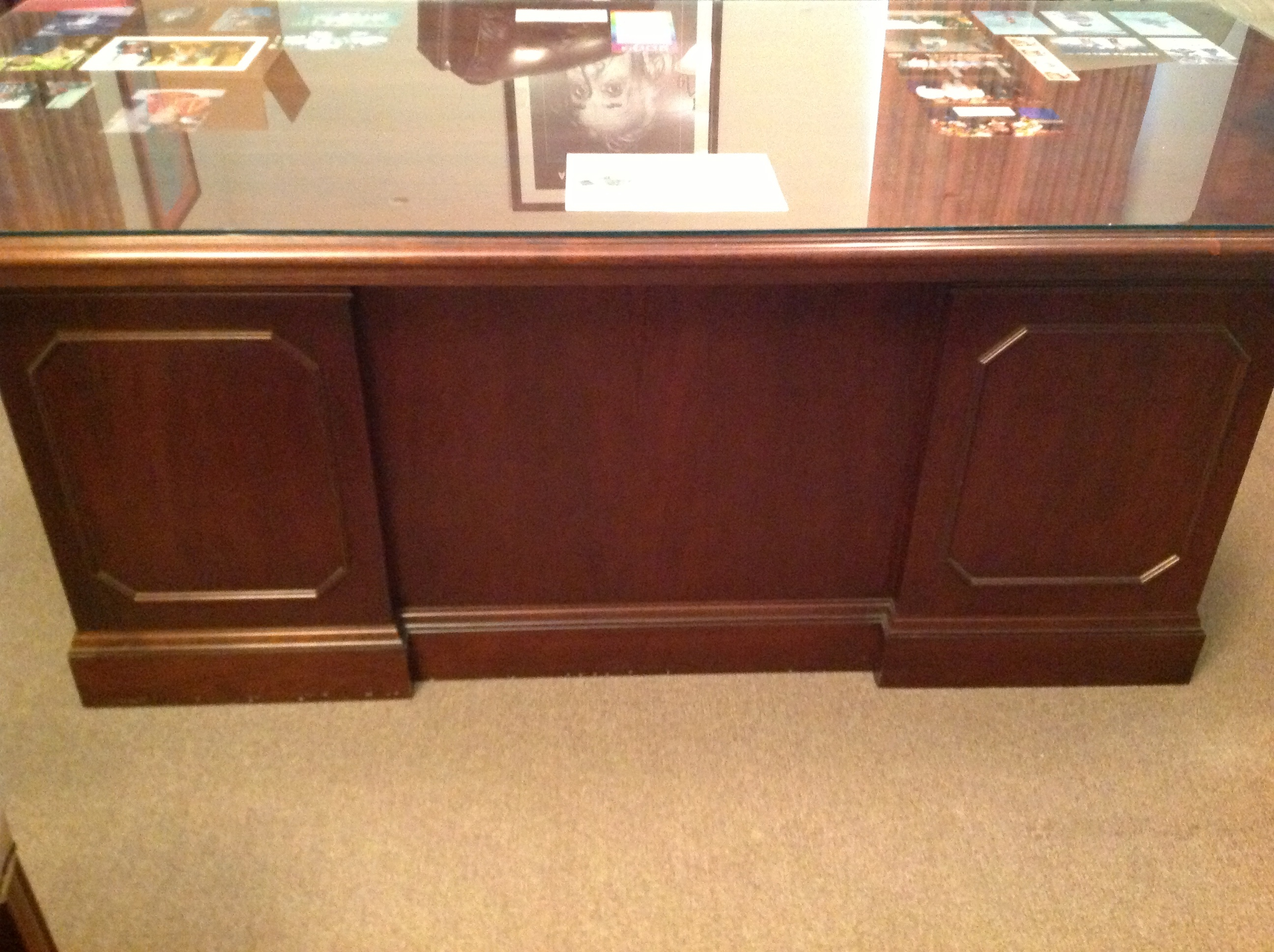 Executive Desk with glass top with credenza with glass top