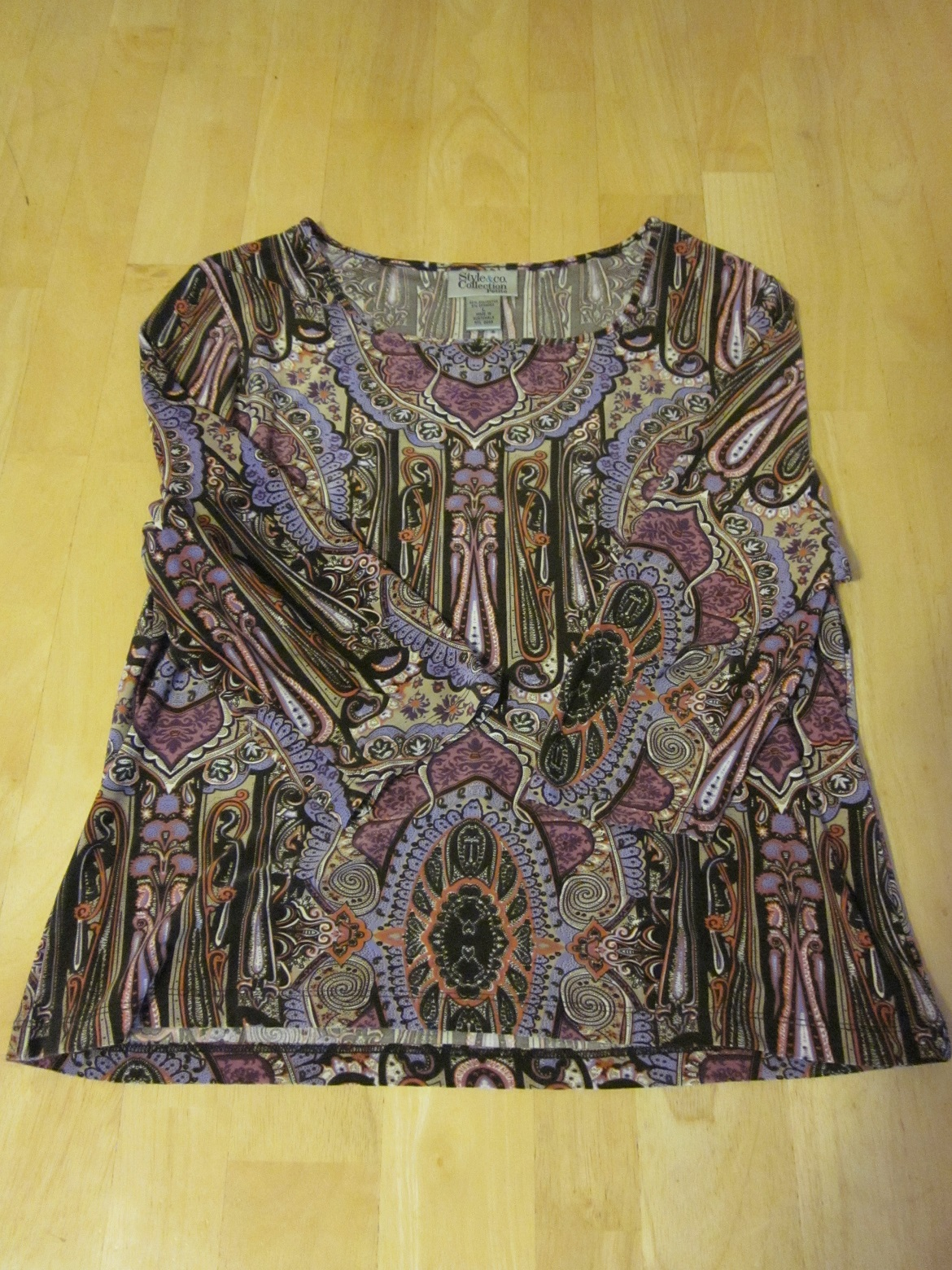 Style & Co Petite Collection Purple Print Top - Large