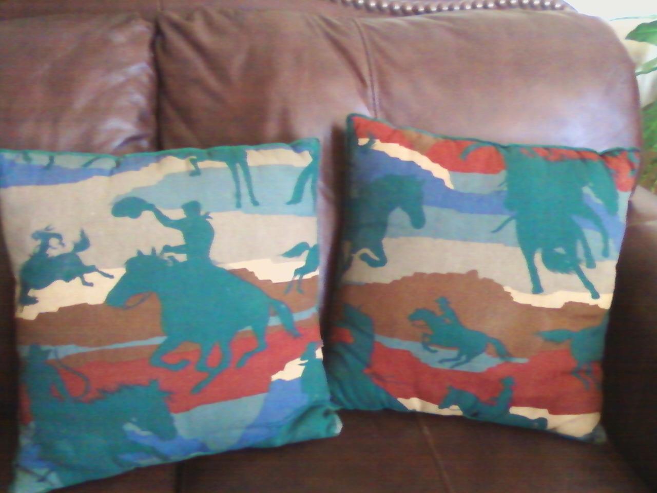 Two cowboy toss pillows