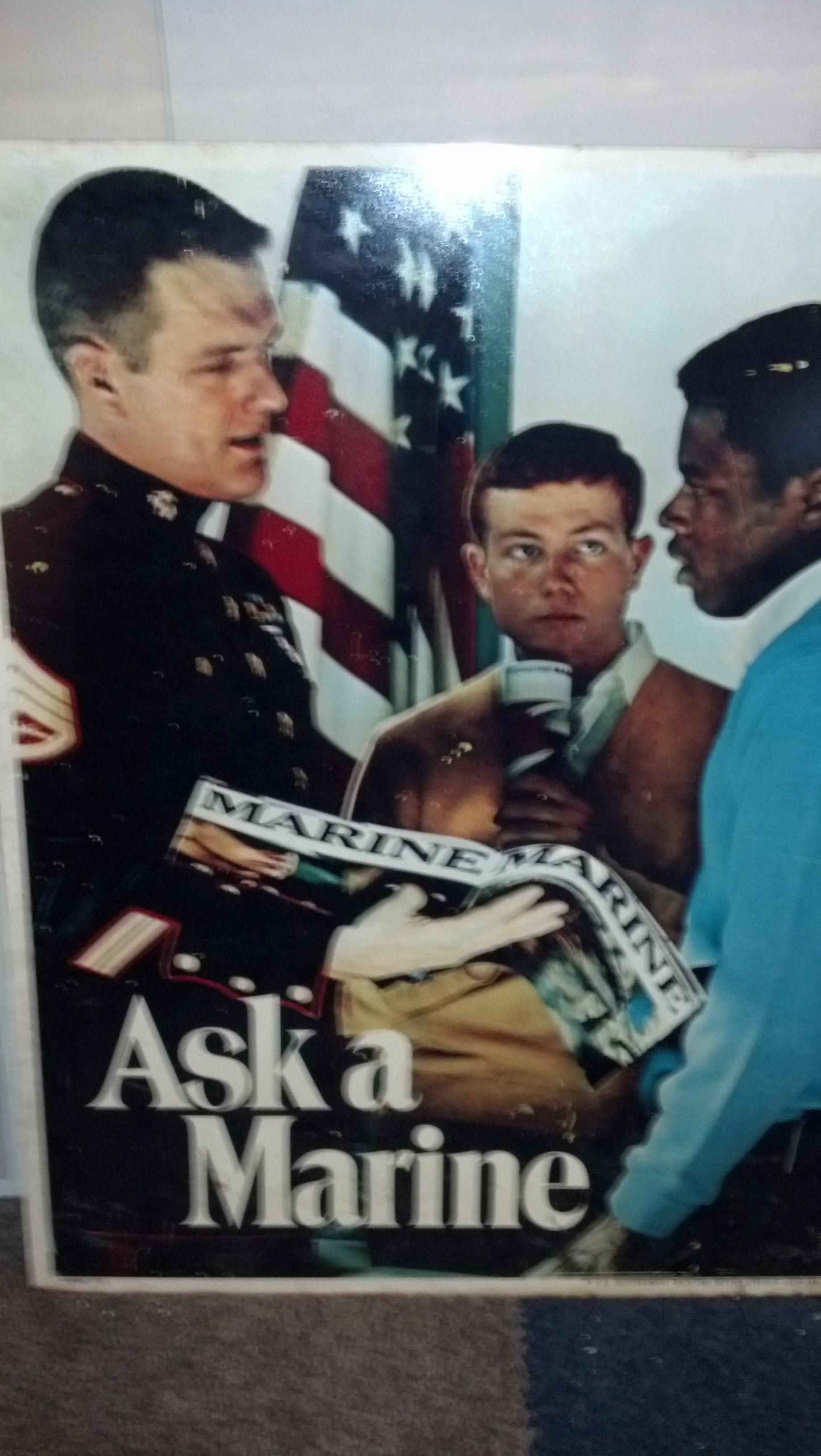 "Antique USMC Metal Recruiting Poster \""Ask A Marine\"""