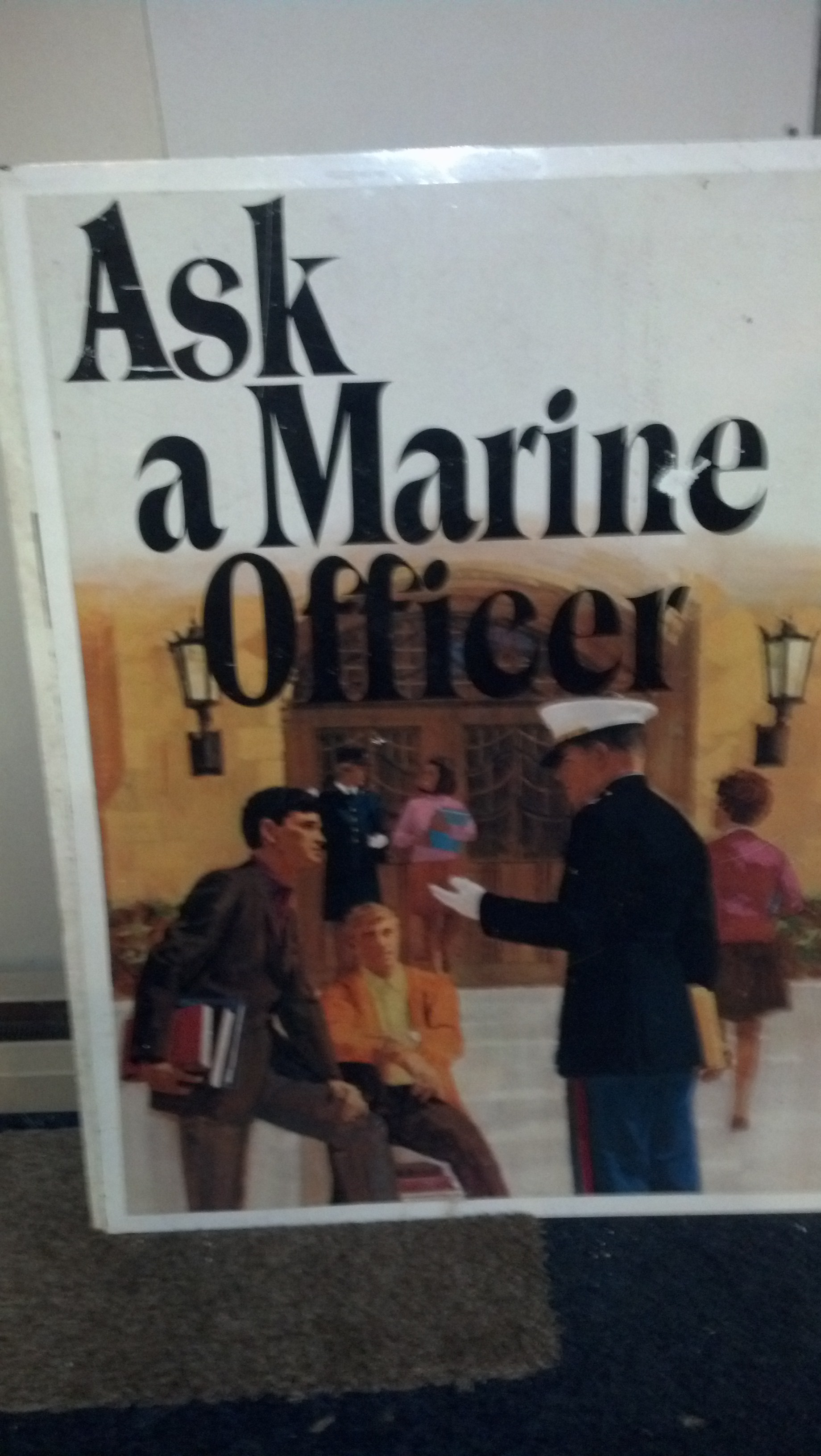 "Antique USMC Metal Recruiting Poster ""Ask A Marine Officer\"""