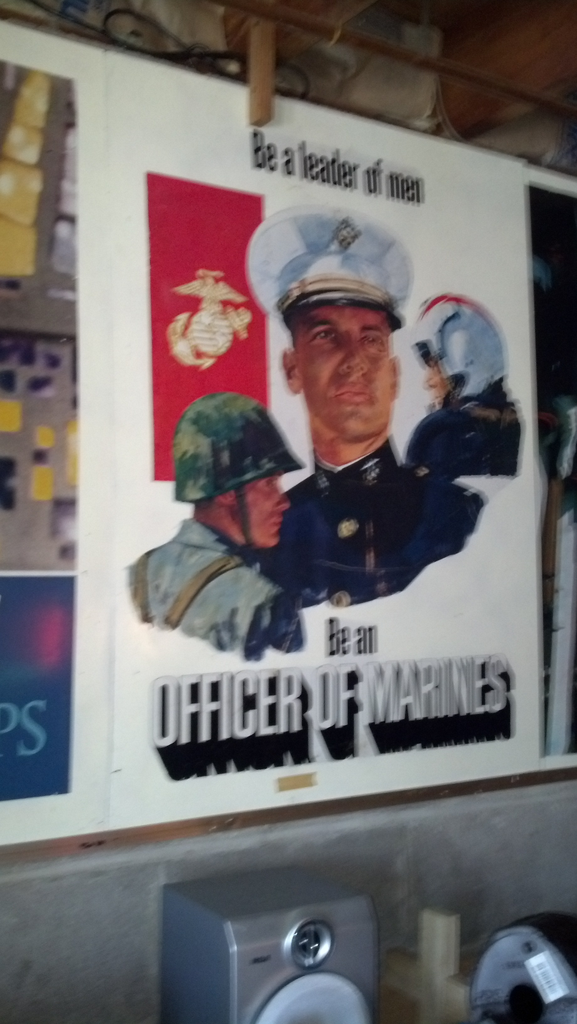 """Antique USMC Metal Recruiting Poster \""""Be a Leader of Men, Be..."""