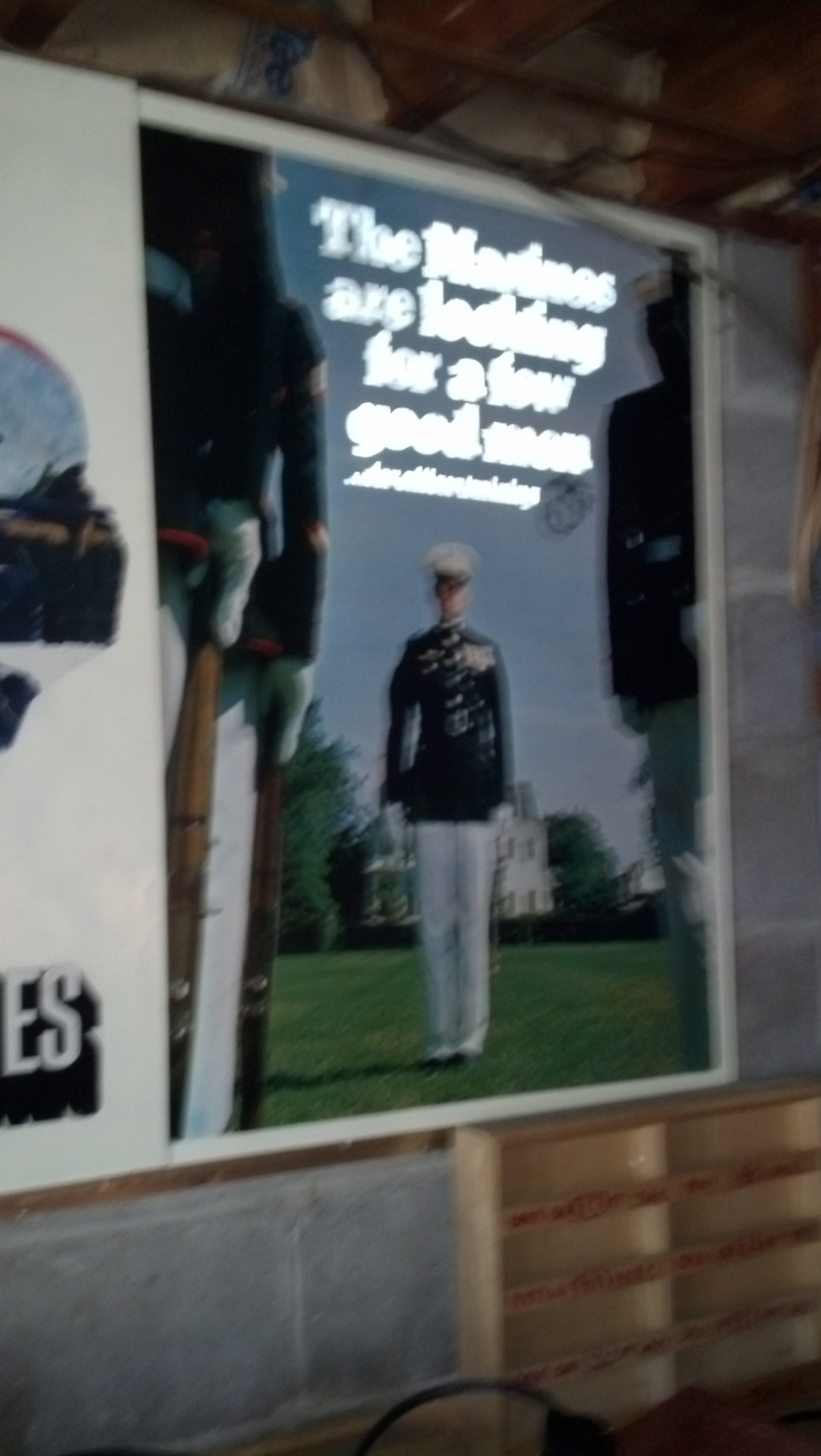 """Antique USMC Metal Recruiting Poster \""""The Marines are Looking..."""