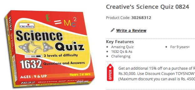 Science Quiz Game in Wrapper