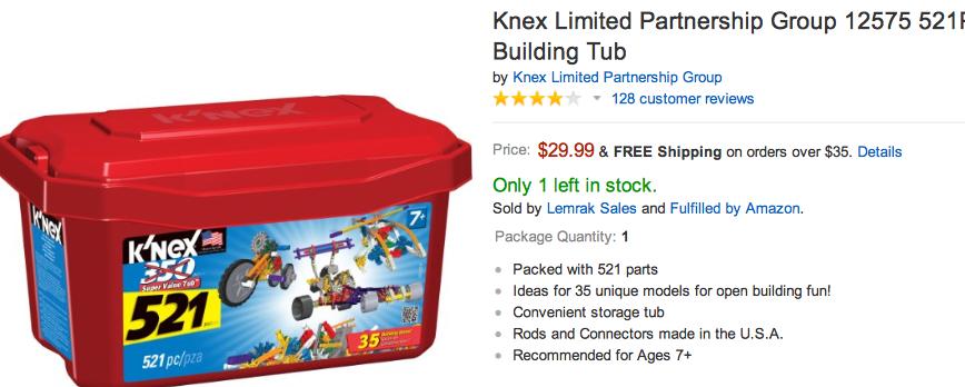 K\'Nex 521 pc tub