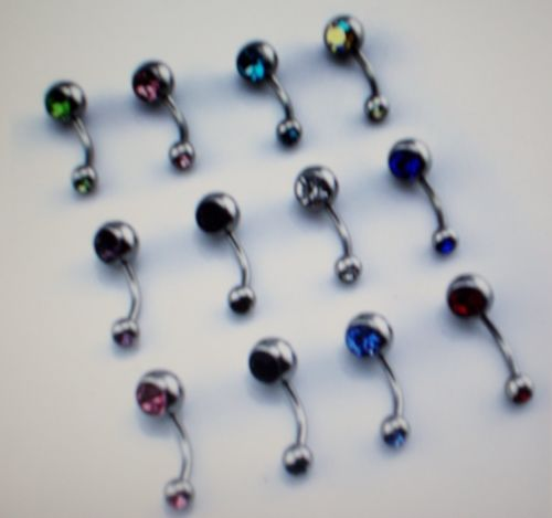 3 Belly Rings Double Jeweled
