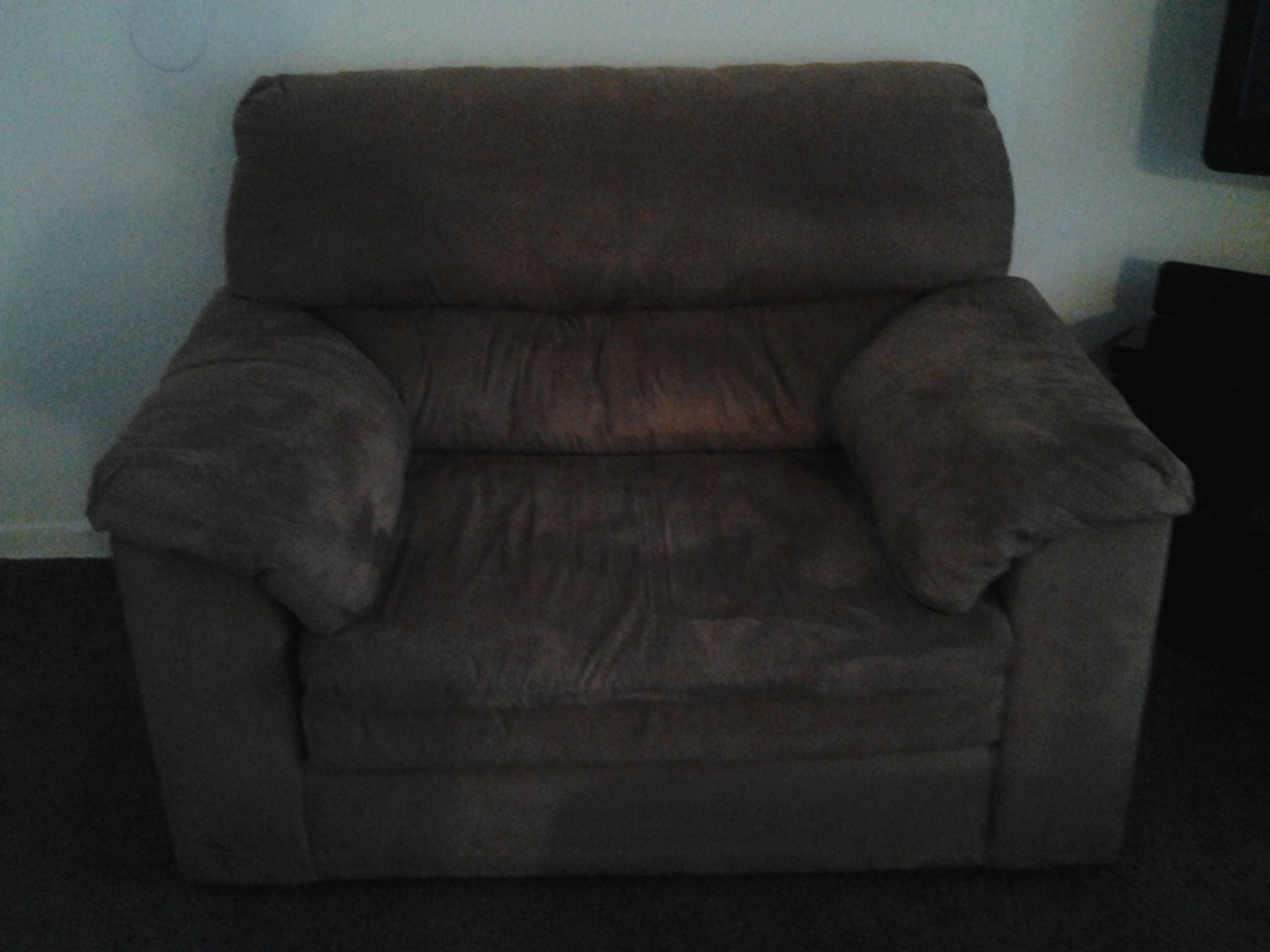 Microfiber couch, oversized chair and ottoman