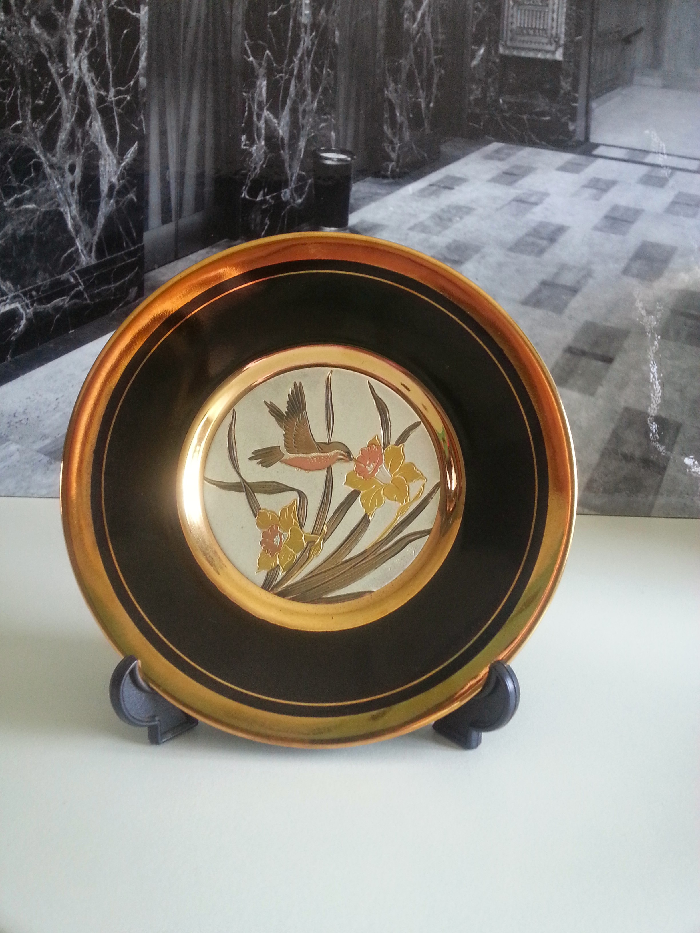 "Art of Chokin, 4\"" Japanese Hummingbird Plate"