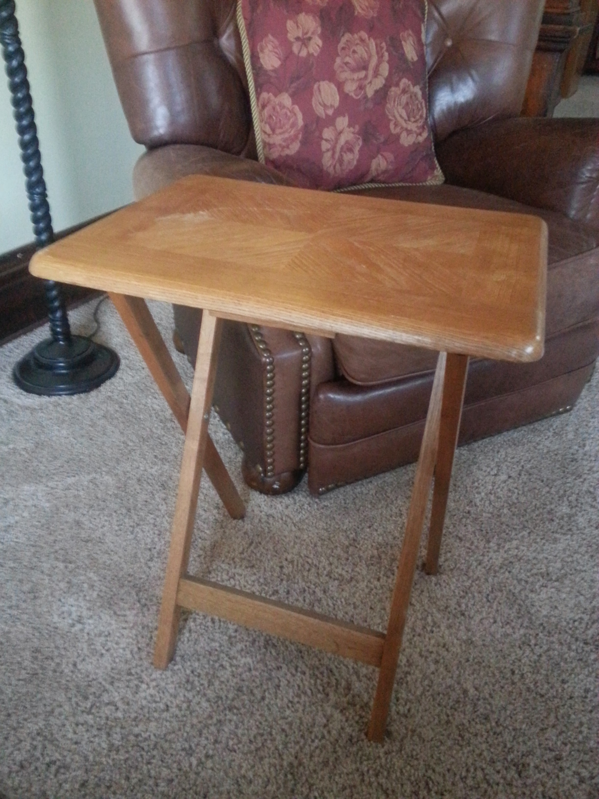 4 Solid Wood TV Trays with Carrier