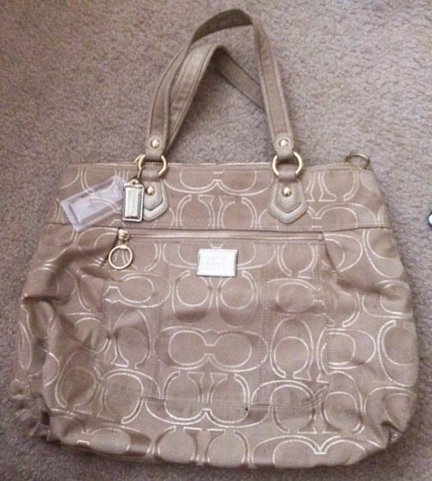 Coach Poppy Large Tote - Gold/Beige