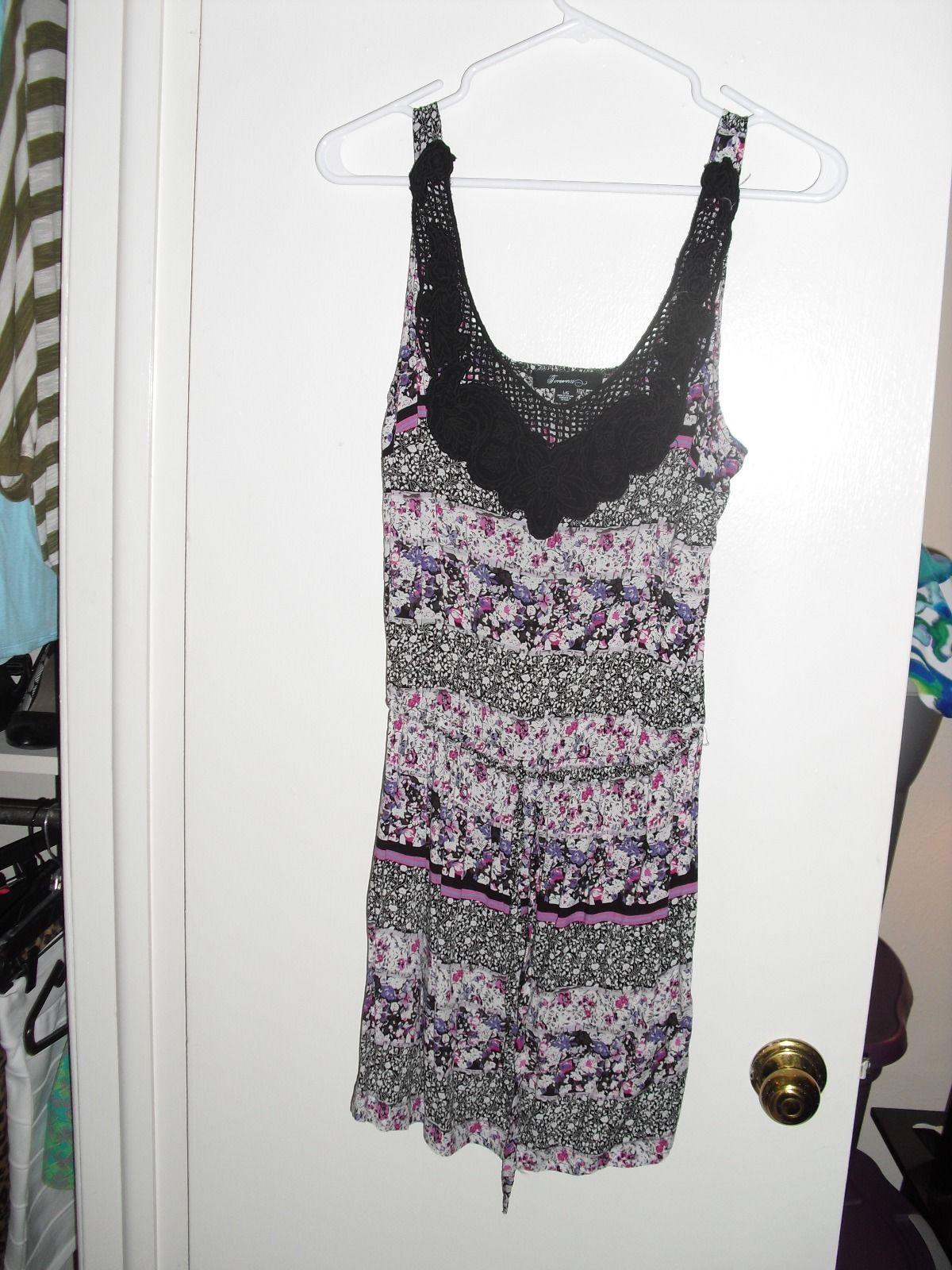 Forever 21 Romper Floral Sleeveless Dress with Black Crochet