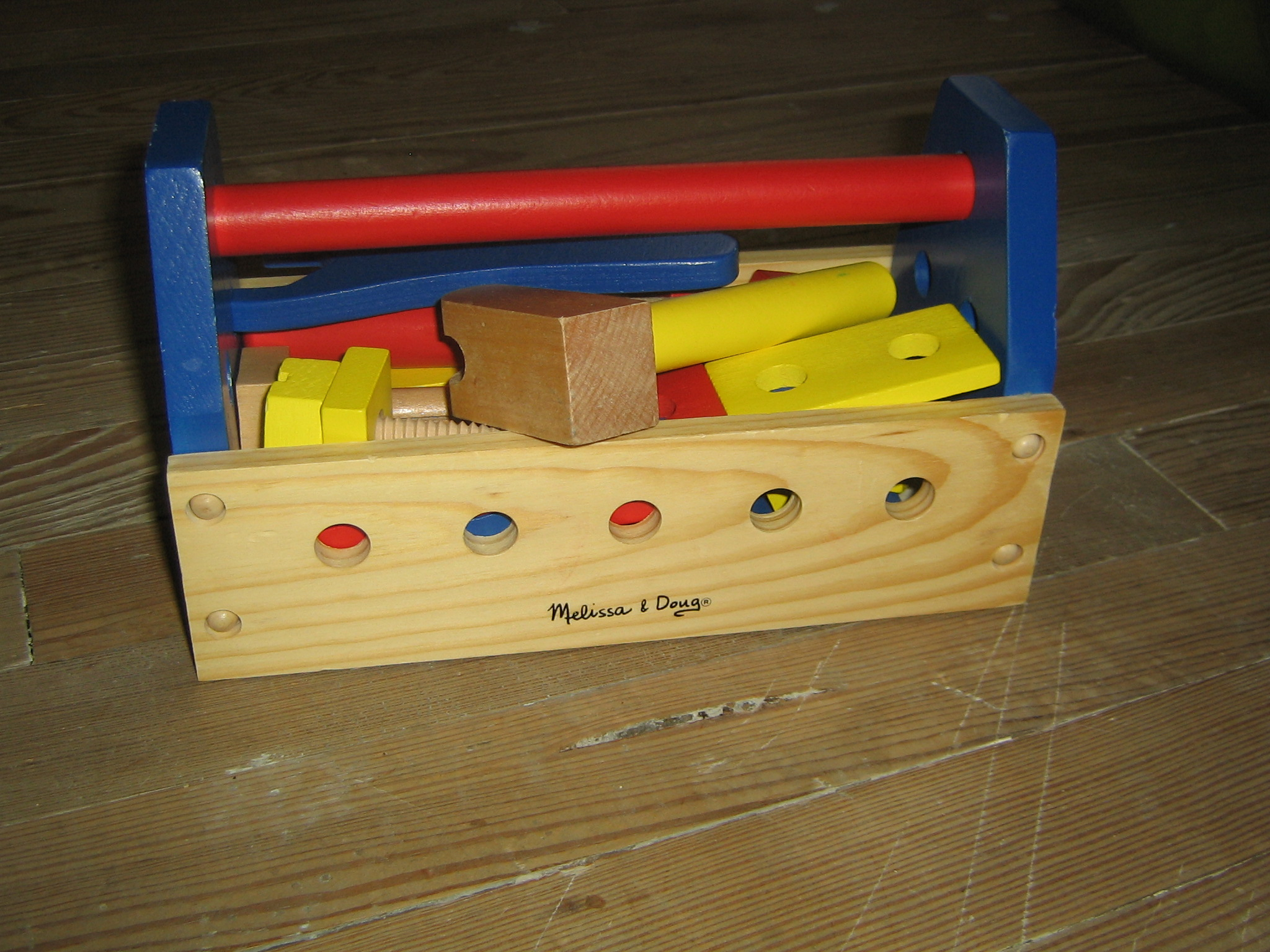 Melissa and Doug wooden tool box with tools