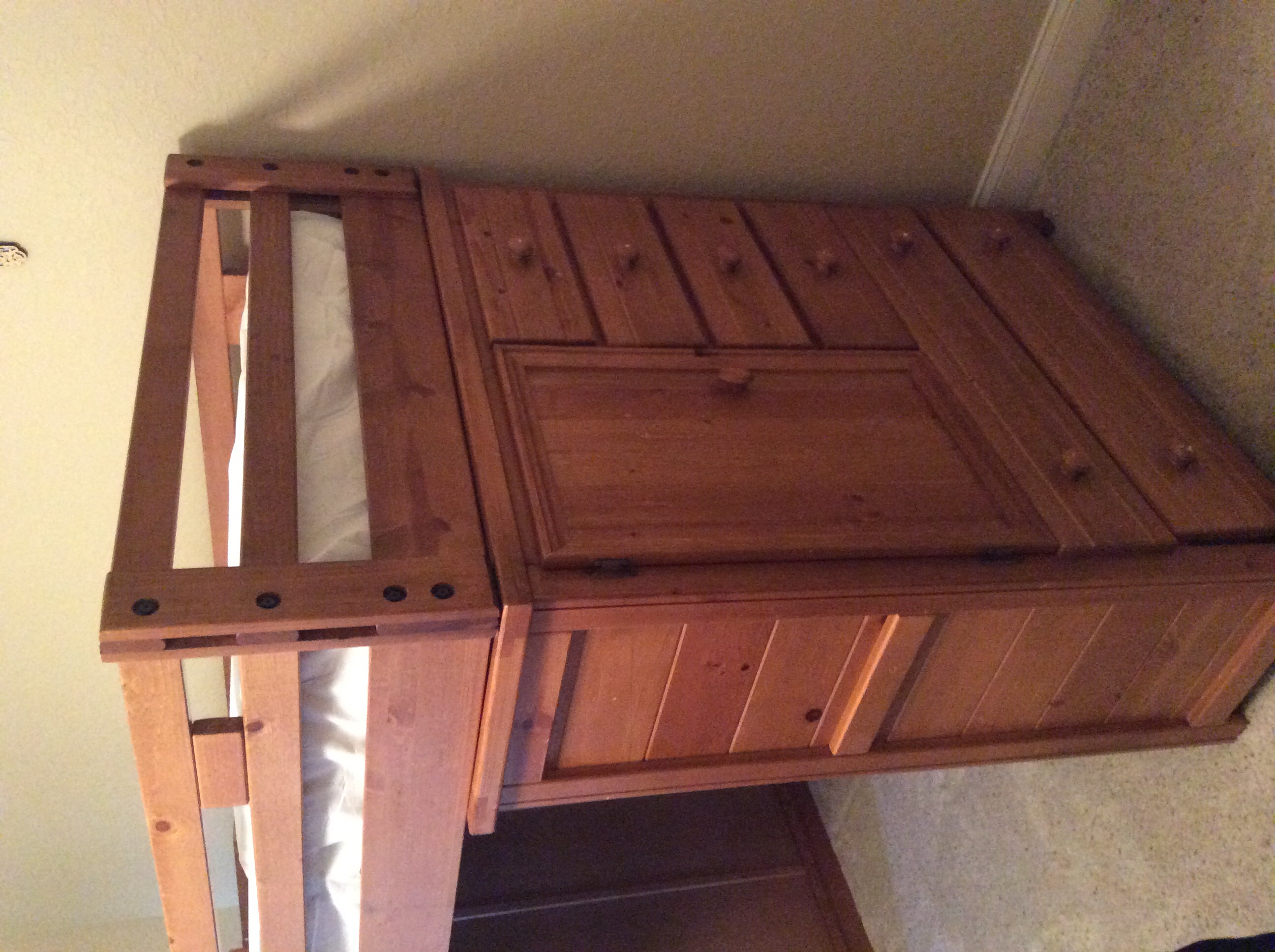 Wooden bunk bed frame with stairs and drawers bunky