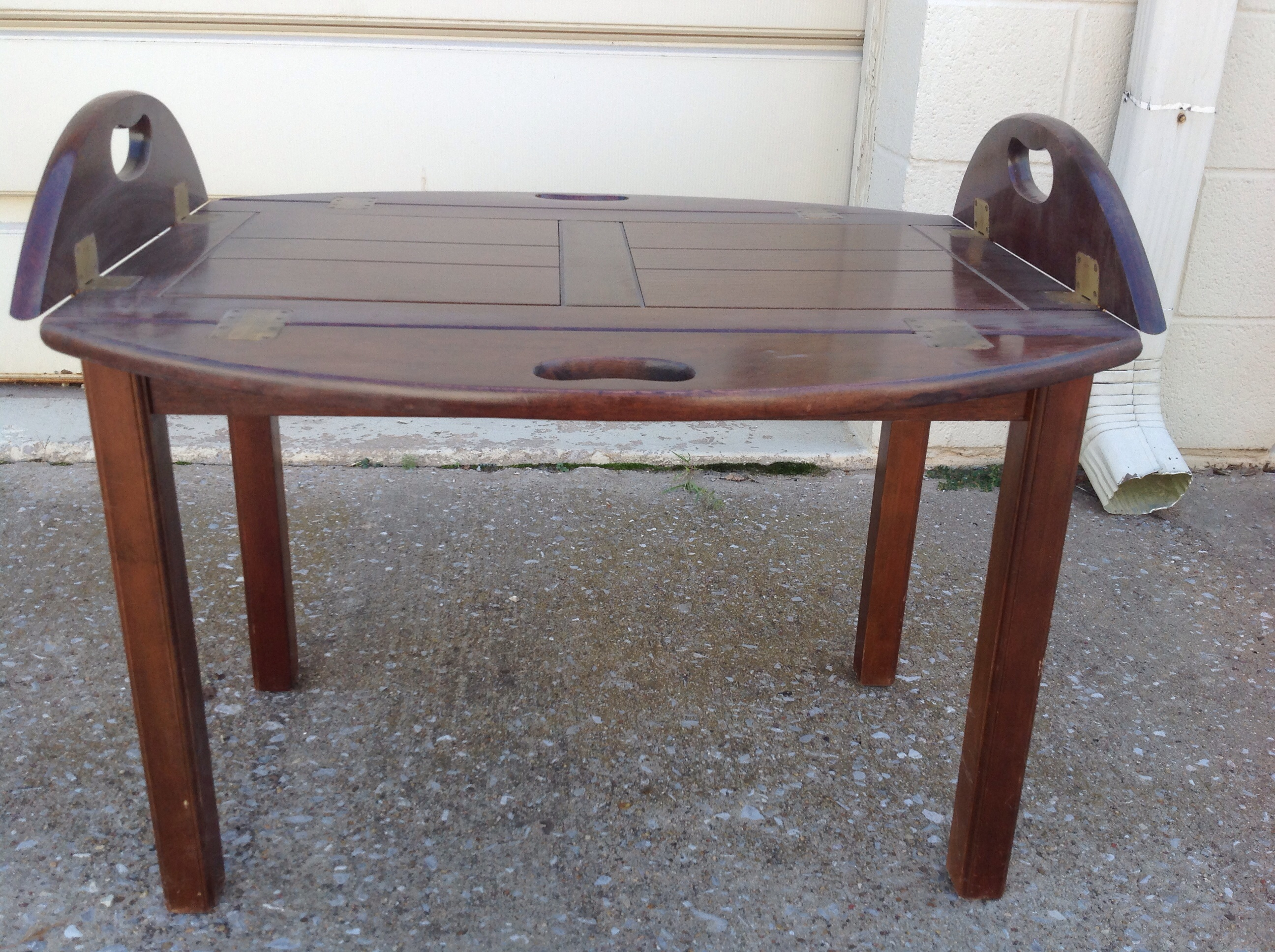 oval coffee table with folding sides in blackjack 39 s yard