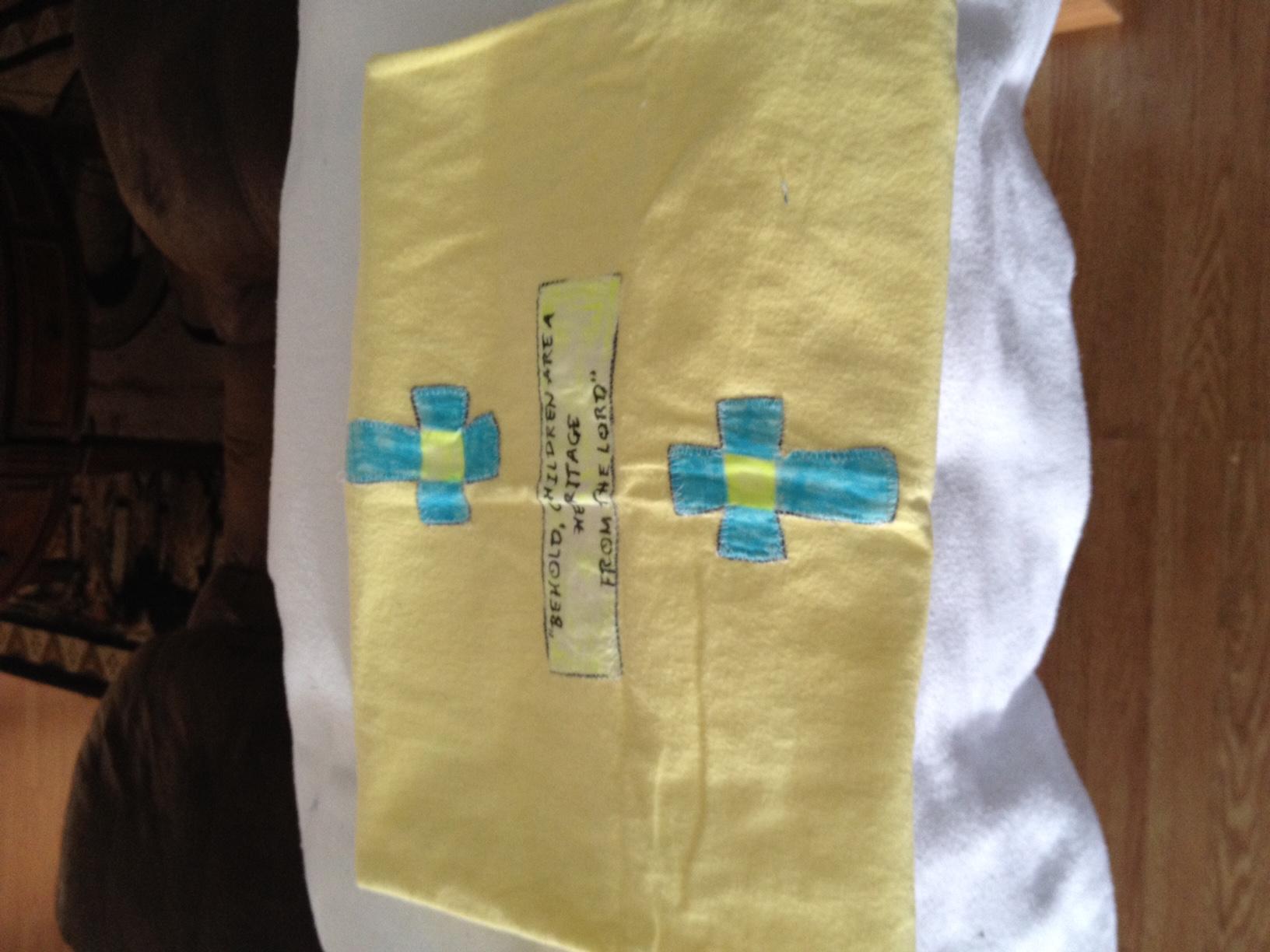 Yellow scripture flannel receiving blanket