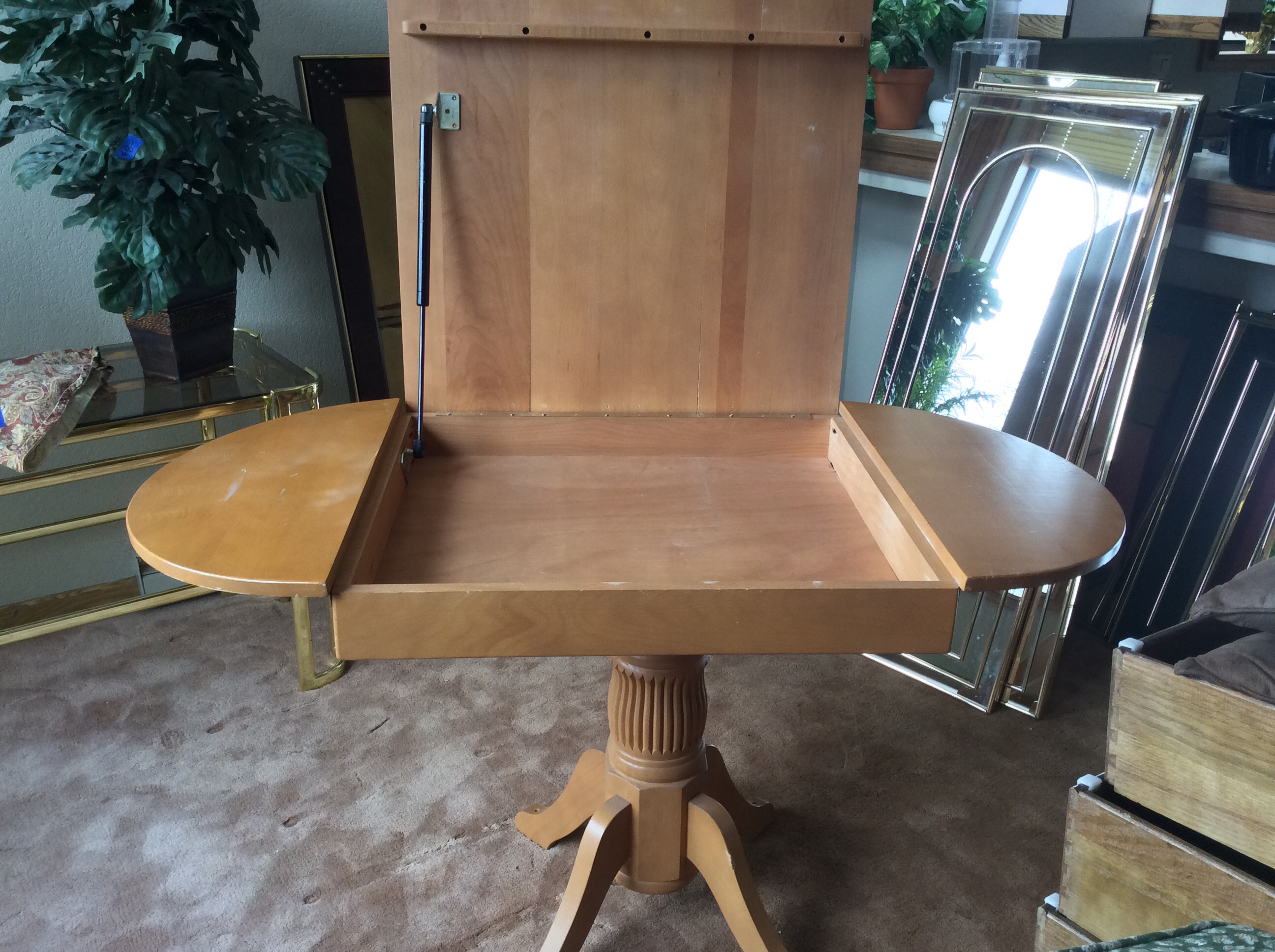 Wood pedestal table