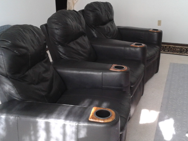 3 VINYL THEATRE SEATS WITH CUPHOLDERS (some rips exist in areas)