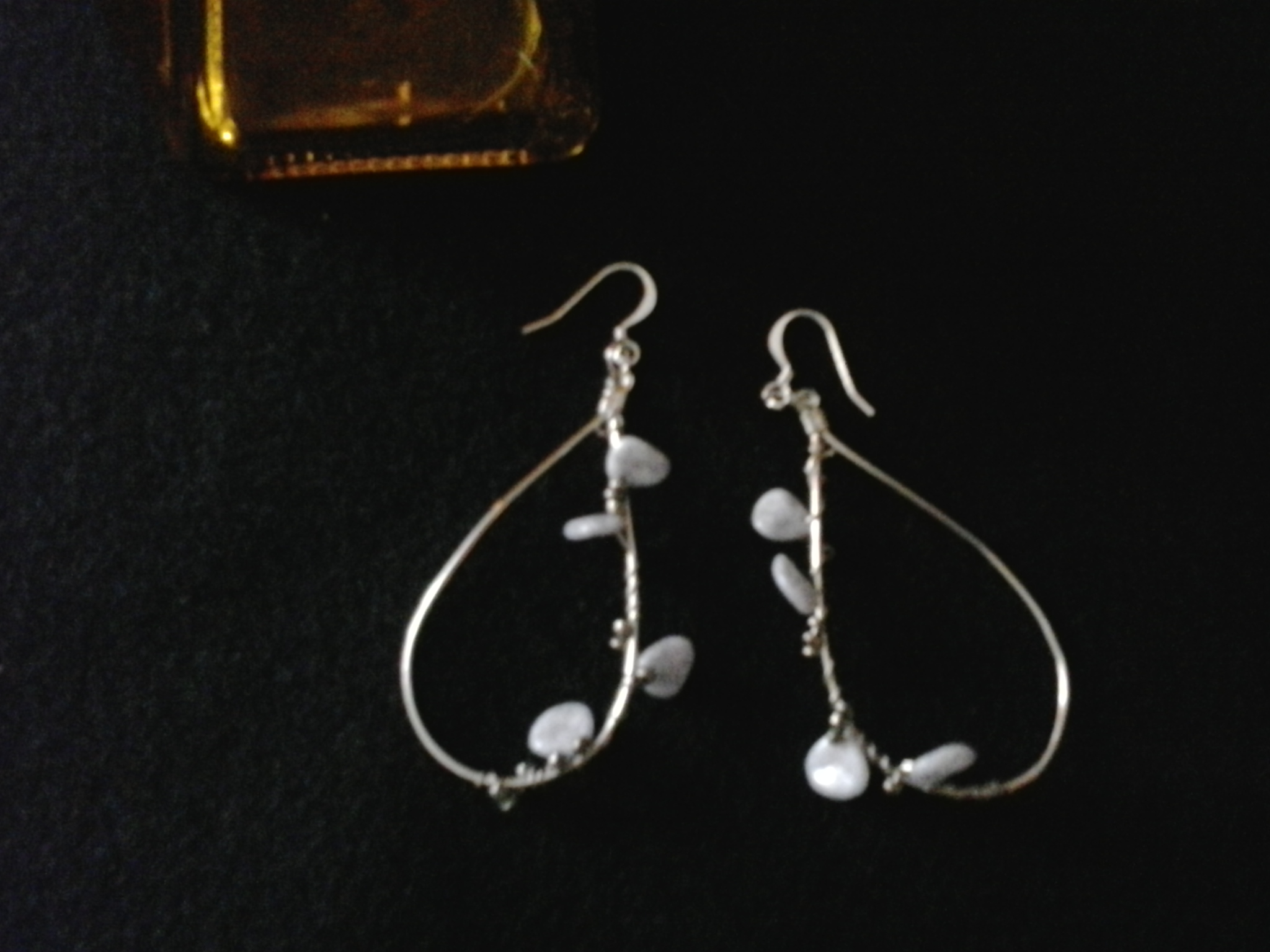 Tear Drop Hoops with Wire Wrapped Pearl Stones