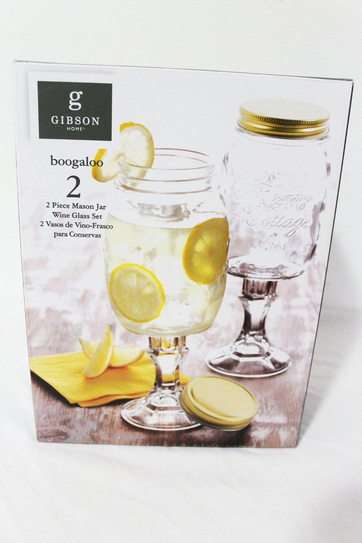 GIBSON HOME BOOGALOO 2 PIECE MASON JAR WINE GLASS STEMWARE SET