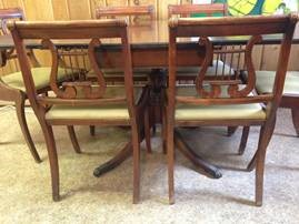 7 piece clawfoot antique dining set with harpback chairs