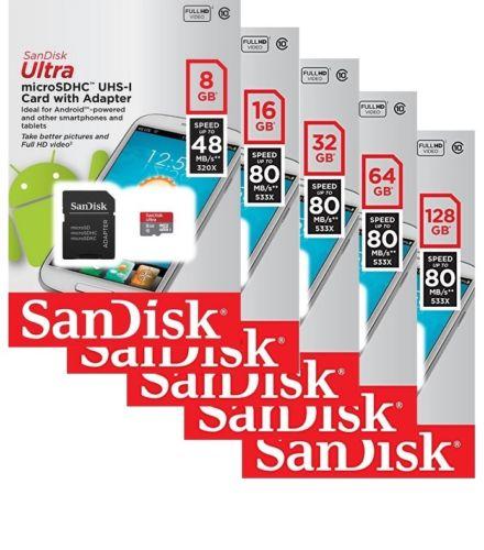 Brand New 128GB SanDisk Ultra Micro SDHC-UHS