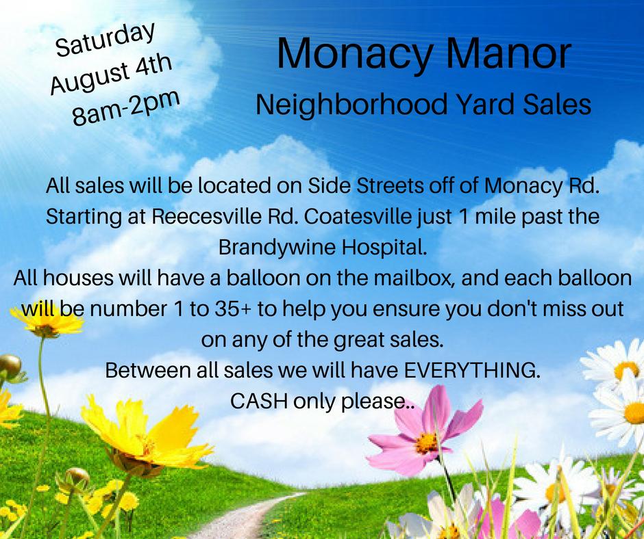 38 house Monacy Manor Neighborhood Yardsale