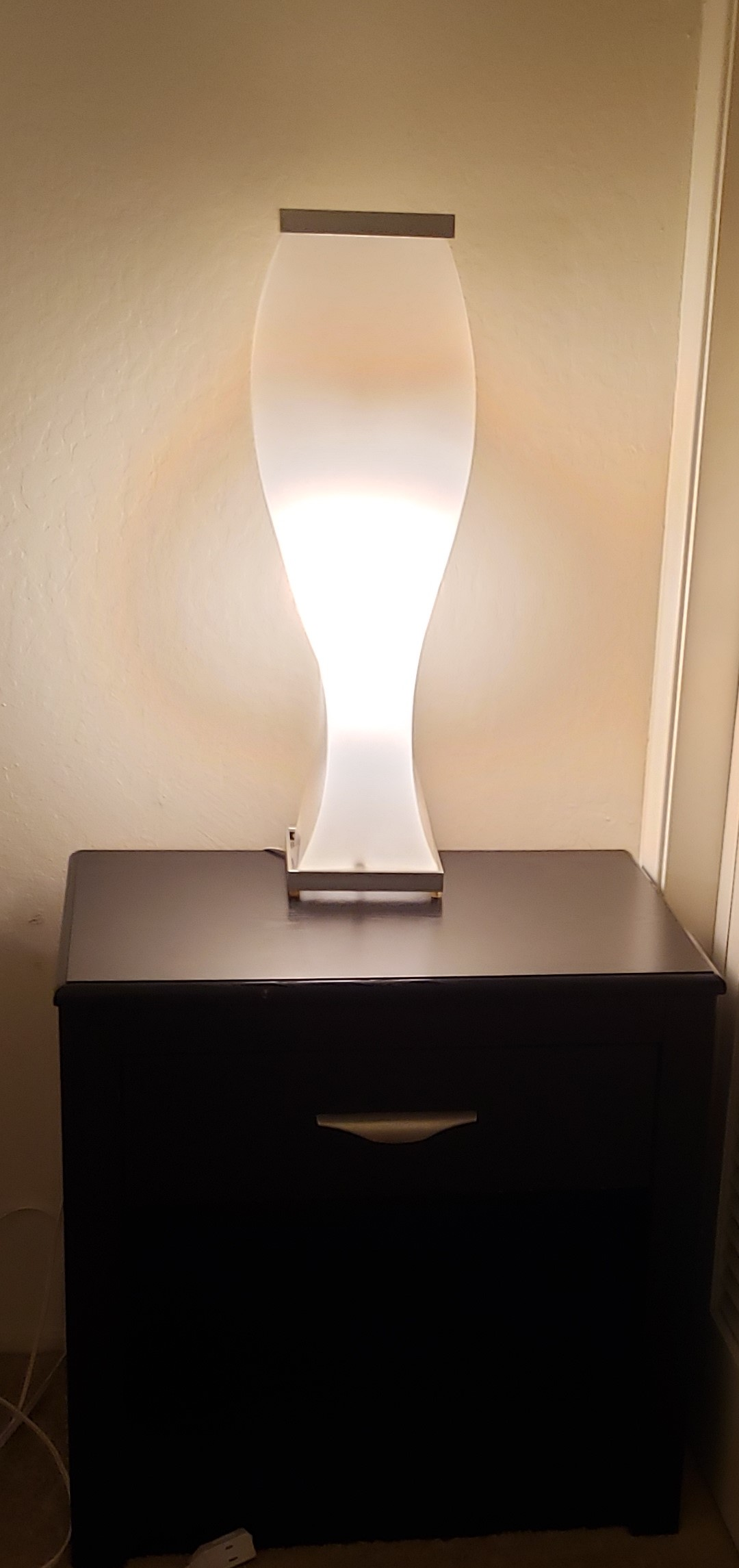 1 of 2 Black with silver accent night stands