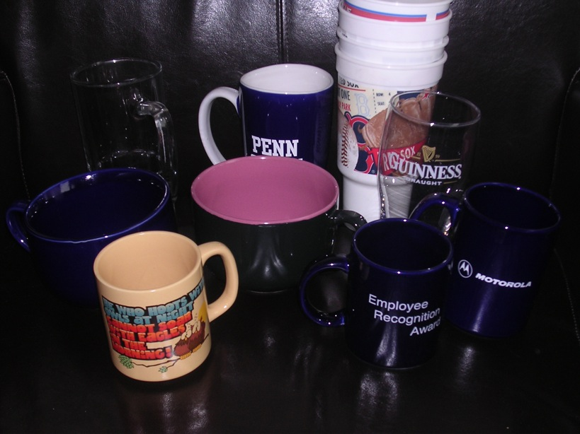 Box of Misc. Glasses, Cups, and Mugs