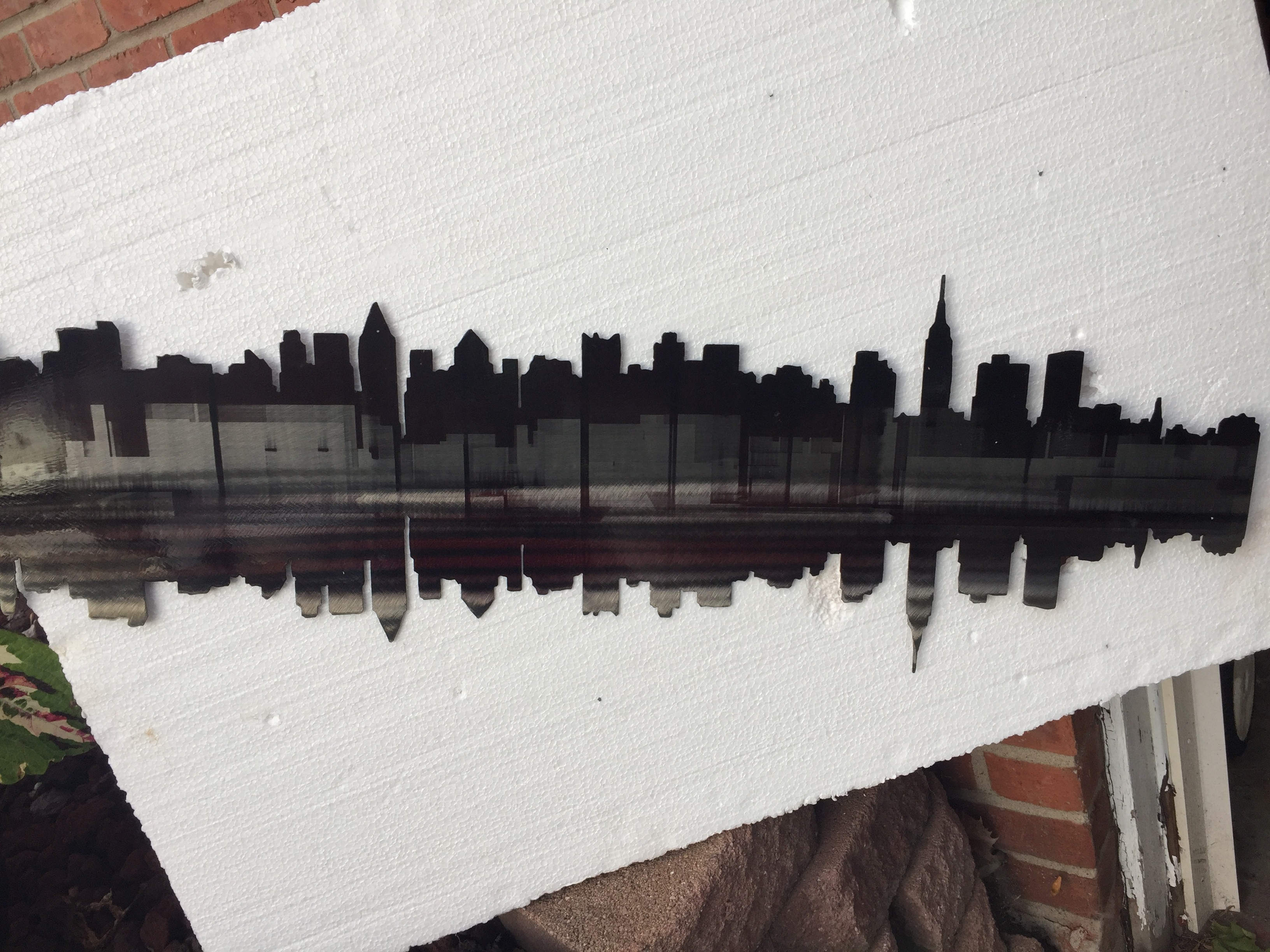 Laser cut metal New York skyline
