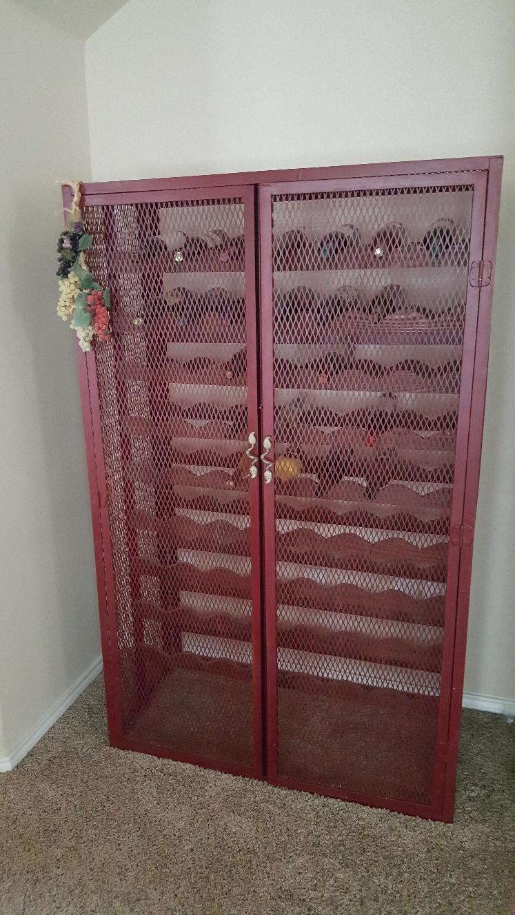 Metal and Wood Wine Rack