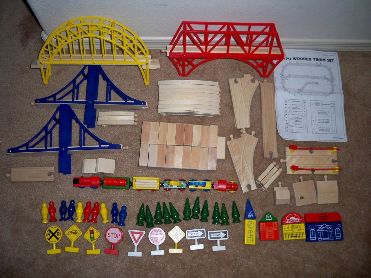 wooden train set instructions