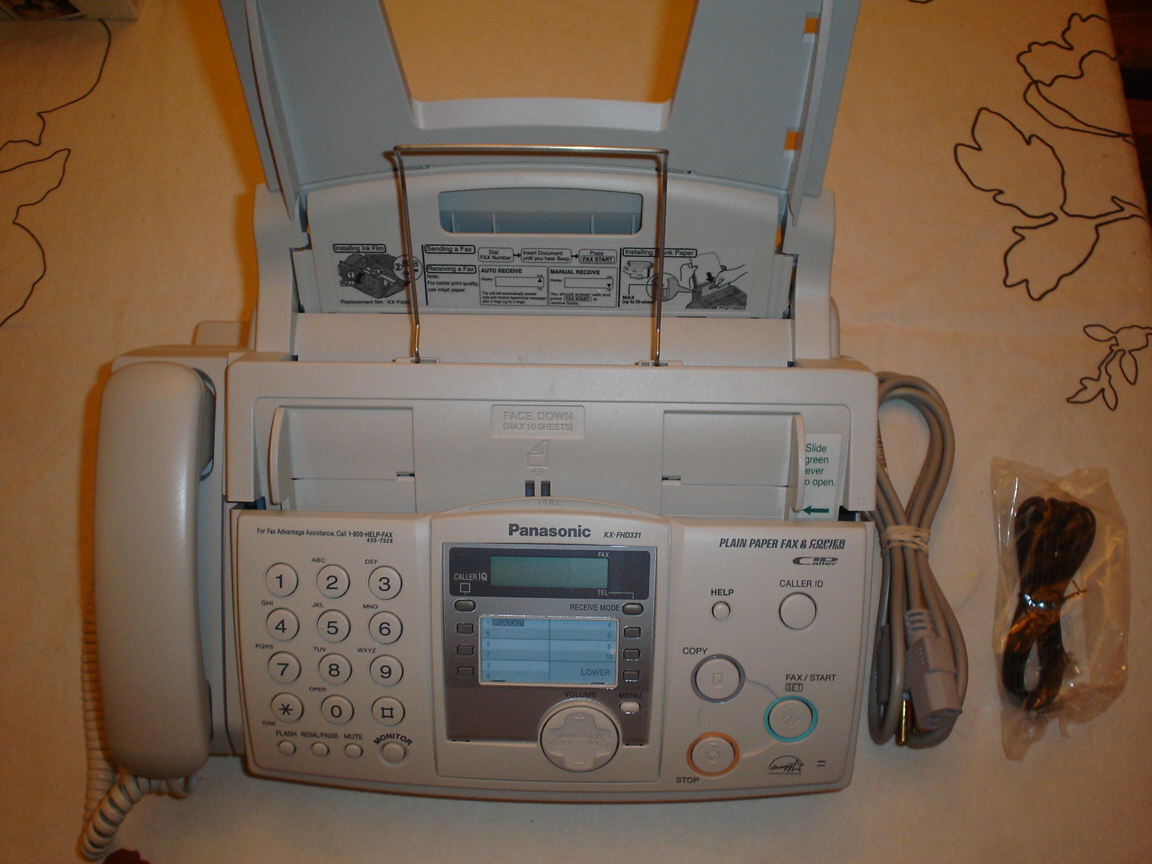 panasonic fax machine kx fhd331 in bargain basement s yard sale rh garagesalehomepage com Panasonic Kx Fhd331 Fax Copier Panasonic Kx Fhd331 Film