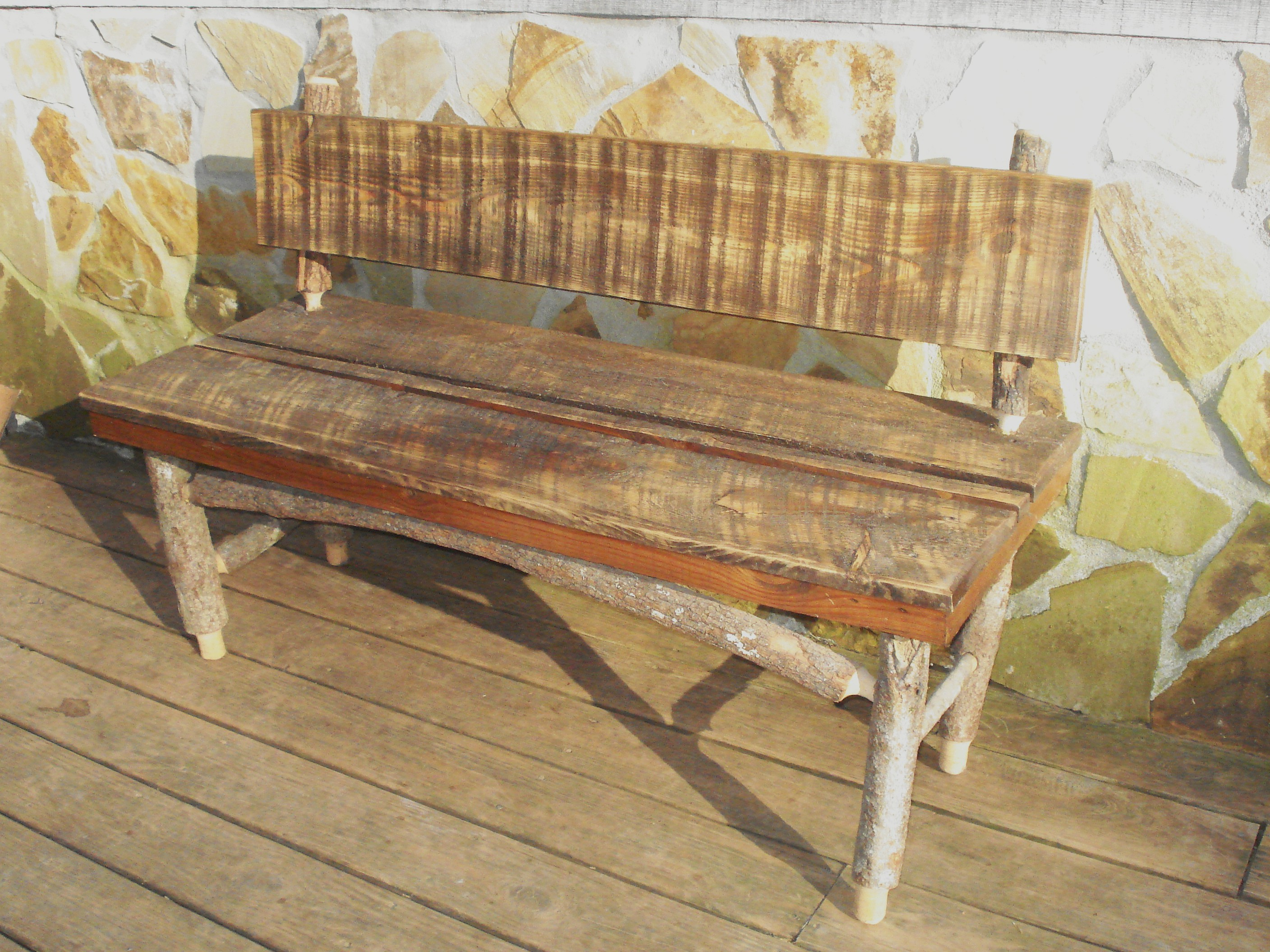 Mtn Laurel and Reclaimed Wood Bench