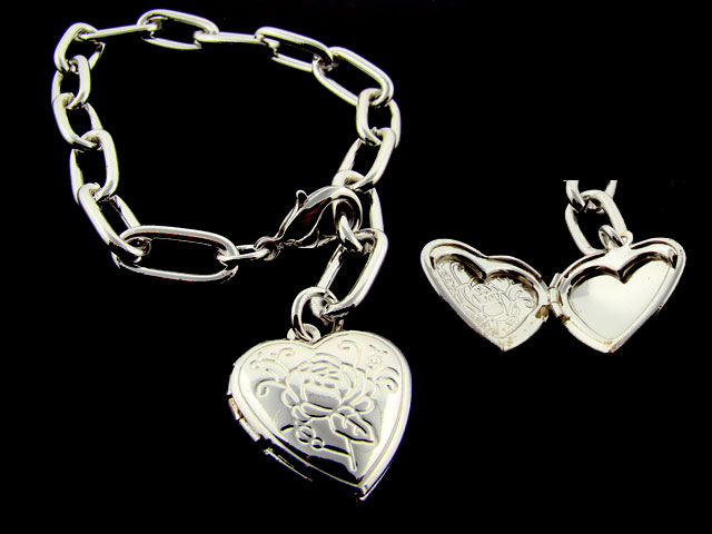 Heart shaped locket charm Bracelet