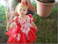 2t red intricate pageant dress with accessories