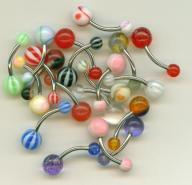 (20) Assorted UV Ball Belly Rings  with Free Shipping