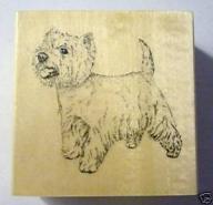 Wooden Rubber Dog Stamp