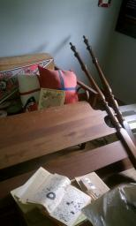 Full Size hard wood headboard and footboard