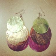 tri-color shell earrings