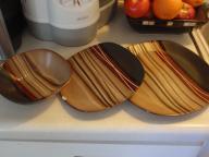 brown striped walmart dishes