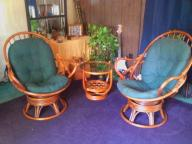 3piece bamboo chair & table set