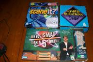 Board Games: Scene It, Smarter than a 5th Grader, Loaded Question