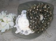 Olive Green Military Cadet Distressed Hat with Fabric Flowers
